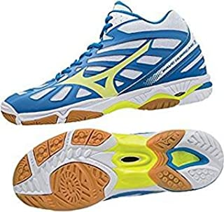 MIZUNO V1GA174544 Wave Hurricane 3 Mid Men's Volleyball Shoes, 11.5 UK, White/Safety Yellow/Directoire Blue