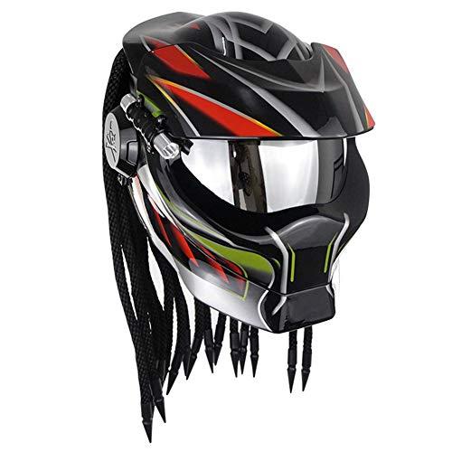 CAKUI Knallschwarzer Predator Motorradhelm, 4-Jahreszeiten-Universalmaske Mit LED-Beleuchtung Integralhelm, DOT-Zertifizierter Helm,XL:61~62cm