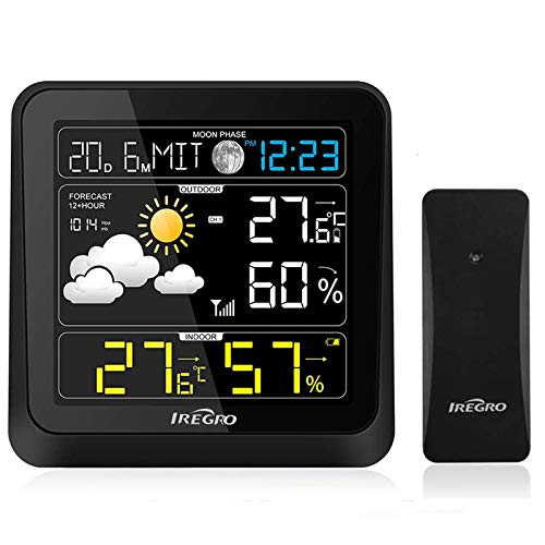 IREGRO Wetterstation Funk mit Außensensor, Multifunktion Funk Wetterstation mit Wettervorhersage, Digital Thermo Hygrometer Raumthermometer Hygrometer, Farbdisplay