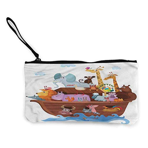 Cartoon Zipper Coin Pouch Zipper Storage Case Cosmetic Bags Happy Animals Sailing Ship