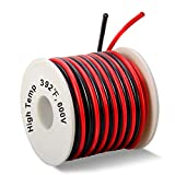 16 Gauge Silicone Wire Spool 50 Feet, Ultra Flexible High Temp 200 deg C 600V 16 AWG Stranded Wire with 252 Strands of Tinned Copper Wire, 25 ft Black and 25 ft Red Wire for Model Battery by MILAPEAK