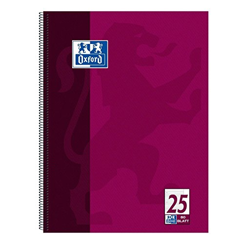 Oxford 100050355 Collegeblock, A4+, liniert/weißer Rand, 80 Blatt, 90 g/m² Optik Paper, 15-er Pack, violett