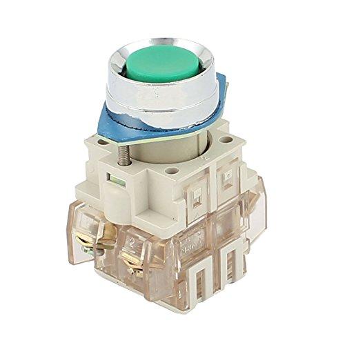 sourcingmap Interruttore Momentaneo A Pulsante Rotondo Bottone Interruttori Pulsanti AC 220V 4.5A 1NO 1NC DPST LED Verde