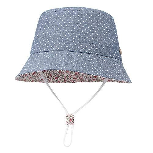 GEMVIE Niños Sombrero Pescador de Bebé Sol Protección Algódon Unisexo Gorro Ajustable Plegable Estapado Estrella Verano UV Hat Niña (Azul, 3-6meses)