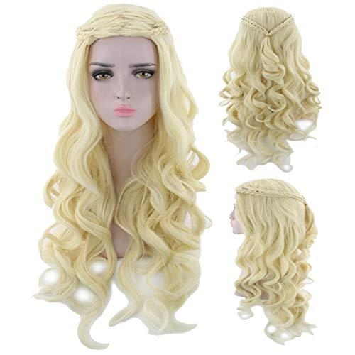 GHK 70 cm Game of Thrones Daenerys Targaryen Braiding Cosplay Pruik Halloween Kostuum Zilver Grijs Blonde Lange Golvende Pruiken Voor Vrouwen Blond