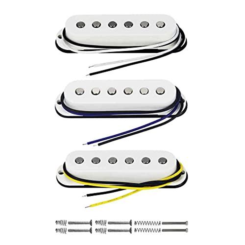 FLEOR Juego de pastillas de guitarra eléctrica-cuello/medio/puente Alnico 5 pastillas de bobina simple para piezas de guitarra estilo Stratocaster, blanco