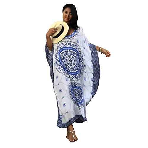 Lazzon Vestido Largo de Playa Mujer Verano Traje de Baño Bohemio Maxi Caftán Túnica Talla Grande Pareos (Azul B)