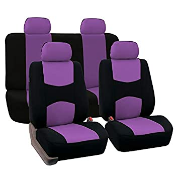 FH Group FB050PURPLE114 Universal Fit Full Set Flat Cloth Fabric Car Seat Cover  Purple   FH-FB050114 Fit Most Car Truck SUV or Van