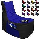 Sitzsack Gamer Lounge Ø 85-90cm mit Füllung 2-farbig Gaming BeanBag Sitzkissen Bodenkissen Kissen Sessel Sofa (Schwarz + Blau)