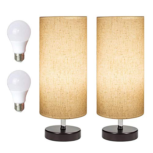 DEEPLITE Bedside Table Lamp 2 LED Bulbs Included, Modern Simple Desk Lamp with Wooden Base and Fabric Shade, Minimalist Nightstand Lamp for Bedroom Living Room Office (Set of 2 )