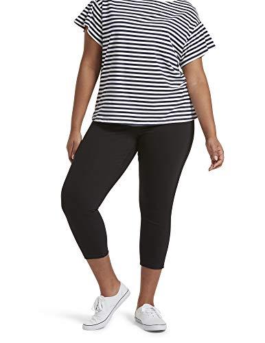 No Nonsense Women's Classic Denim Capri Leggings with Pockets, Black, X-Large
