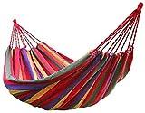 Sammious 200 * 100 cm Hamacas de algodón al Aire Libre una Persona portátil compacta Hamaca de Viaje de Viaje con Cuerdas de árboles y Bolsa de Transporte para Patio Jardín Playa Beach