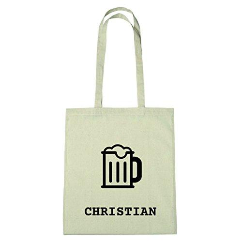 JOllify Baumwolltasche - Happy Birthday für CHRISTIAN - Bier Gruß