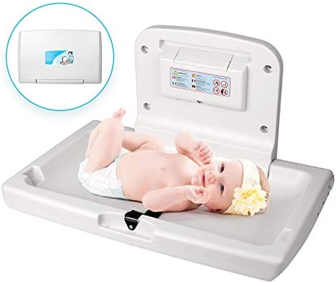 WilBee Wall Mounted Baby Changing Station Horizontal Fold Down Diaper Change Table with Safety product image