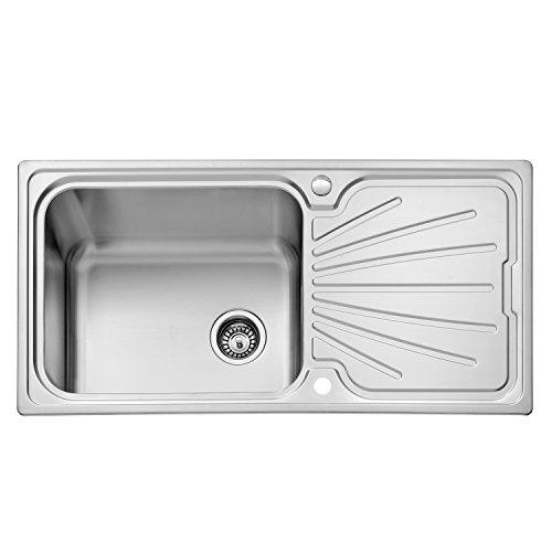 JASS FERRY Küchenspüle / Waschbecken, groß, aus Edelstahl, glatt, reversibles Abtropfgestell, inkl. Sieb und Abflussrohr-Clips