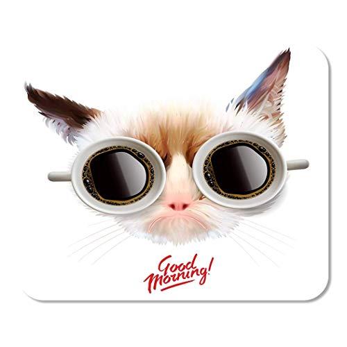 Mousepad Computer Notepad Büro Wochenende Guten Morgen Lustige mürrische Katze Tassen Kaffee Home School Game Player Computer Worker 25 * 30Cm