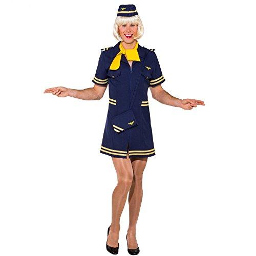 Männerballett Kostüm Stewardess Gr. 46/48 Kleid Haube blau Fasching Flugbegleiterin