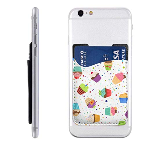 Card Holders Phone Decorated Sweet Cupcakes Credit Card Holder Women with 3m Adhesive Stick-on Fits iPhone Android Most Smartphones Best Credit Card Holder Credit Card Holder for Girls