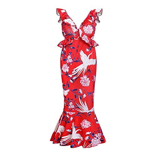 Hong Yi Fei-Shop Vestidos para Mujeres, con Cuello en V de Profundidad. Vestido de lápiz de cóctel sin Mangas con Cuello en V Midi Midi Dress Bodycon Casual Vestidos (Color : Red, Size : Medium Size)