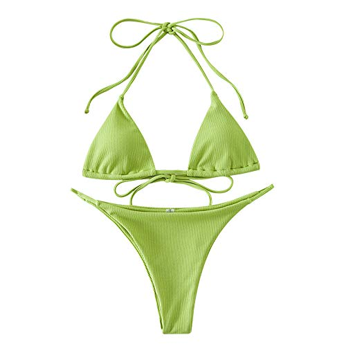 ZAFUL Damen Einfarbiger Gerippter Halter Bikini Gepolsterter Badeanzug Beachwear (M, Grün)