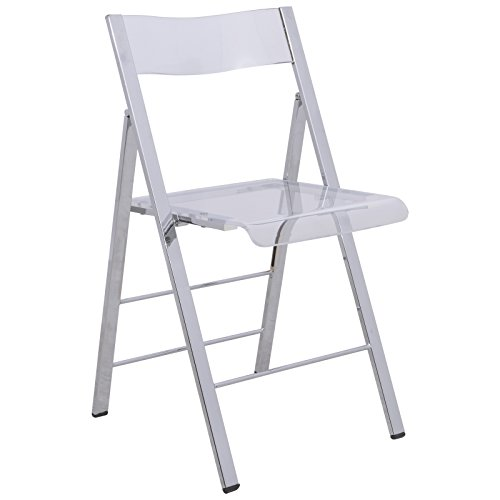 LeisureMod Milden Modern Acrylic Folding Chairs (Clear)