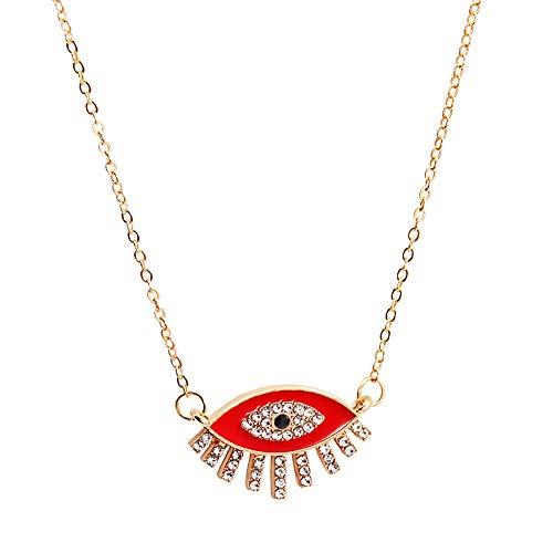 Revilium Collar con Colgante De Ojo Malvado, Accesorios para Mujer, Harajuku, Cristal, Boho, Joyería Gótica De Lujo, Collar De Cadena De Oro, 55 + 5Cm