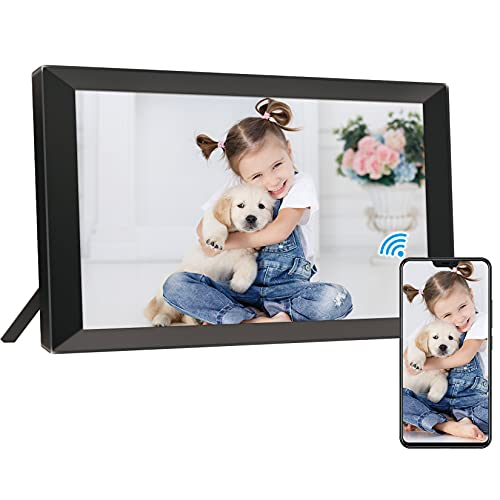 14.1 Inch WiFi Digital Picture Frame, Touch Screen Smart Cloud Digital Photo Frame, Share Photos via App, Email & Cloud from Anywhere, 16GB Storage, Auto-Rotate, Wall- Mountable (Black)
