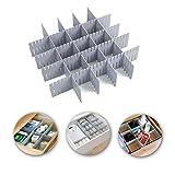 Ygapuzi 8 piezas DIY divisores de cajón organizador de cajón de rejilla de plástico separadores de almacenamiento contenedor ordenado para armario, ropa interior, calcetines, cosmética (Gris)