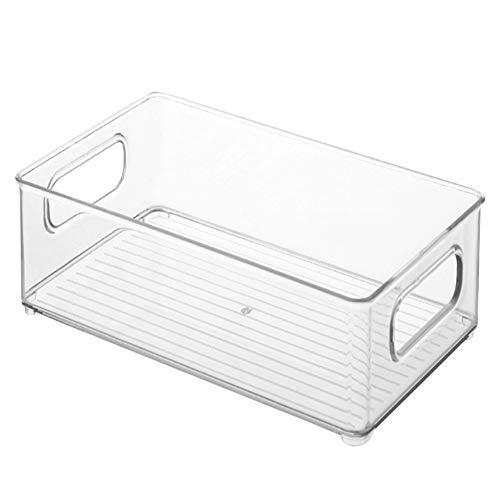 1/4PCS Caja organizadora con asas – Práctico organizador de frigorífico para almacenar alimentos – Contenedor de plástico sin BPA para mueble de cocina o nevera – transparente (1 PCS)