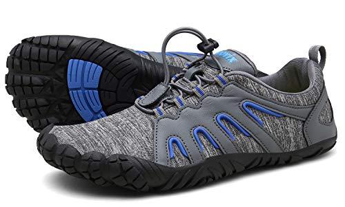 Voovix Herren Damen Barfußschuhe Fitnessschuhe Laufschuhe Minimalistische Traillaufschuhe Trekkingschuhe Wanderschuhe Outdoor Sneaker im Sommer Grau/Blau44
