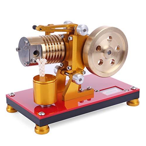 ColiCor Kit de modelo de motor de Stirling, tipo de fuego de succión Stirling modelo de motor de energía de calor de cilindro de aire de cobre puro