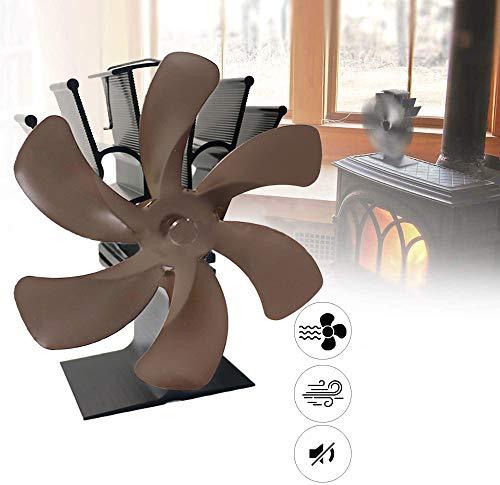 XZHFC Los Aficionados Estufa Estufa Ventilador 6 Cuchillas para Alcanzar Madera del Registro del Quemador Chimenea Eco Amable Y Eficiente Tranquila Distribución De Calor Chimenea Brown