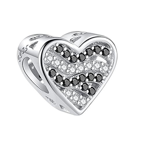 LIJIAN DIY 925 Plata Esterlina Patrón De Cebra Crystal Heart Bead Lady Charm Adecuado para Original Pandora Pulsera Collar Pulsera Regalo De Cumpleaños