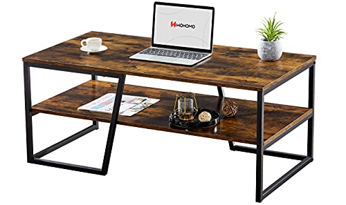WOHOMO Coffee Table, Industrial Coffee Tables for Living Room with 2 Tier Shelves, 41.7' x 21.7' x 17.7' Rectangular Unique Coffee Table with Abstract Diagonal Base, Easy Assembly, Rustic Brown