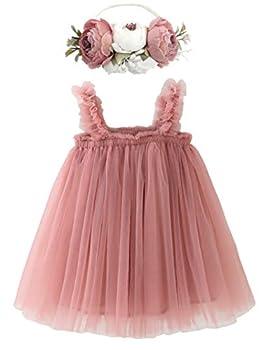 BGFKS Layered Tulle Tutu Dress for Toddler Girls,Baby Girl Rainbow Tutu Princess Skirt Set with Flower Headband Dusty Rose,3T
