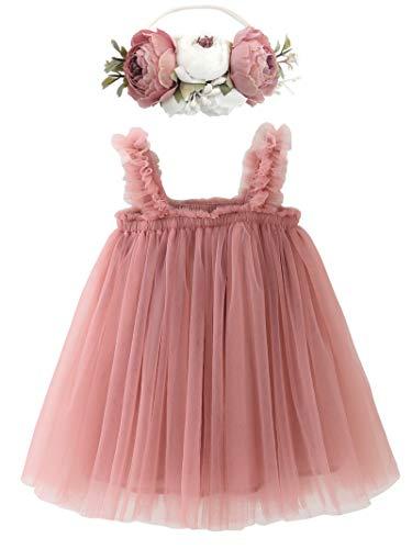 BGFKS Layered Tulle Tutu Dress for Toddler Girls,Baby Girl Rainbow Tutu Princess Skirt Set with Flower Headband.(Dusty Rose,18 Months)
