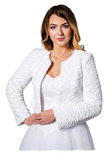 deine-Brautmode Chaqueta de novia Bolero para boda, chaqueta bolero de manga larga de pelo de pelo Blanco 38