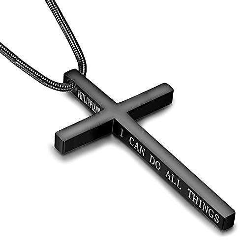 Philippians Cross Pendant Necklace for Men Women Stainless Steel Necklace Snake Chain 22 in (Black Tone)