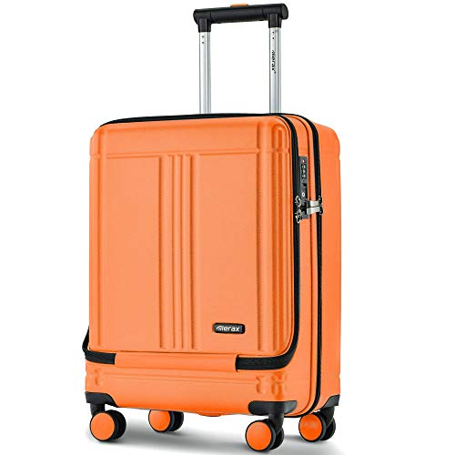 AUTOKOLA HOME Cabin Luggage with Front Laptop Pocket Hard Suitcase ABS 4 Wheels with TSA Lock AA
