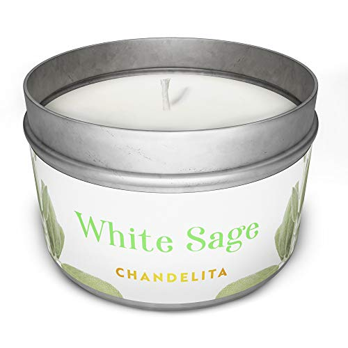 Chandelita Scented White Sage Candle for Blessing and Energy of the Environment with Soy Wax for Purification, Relaxation, Meditation and Chakra Healing