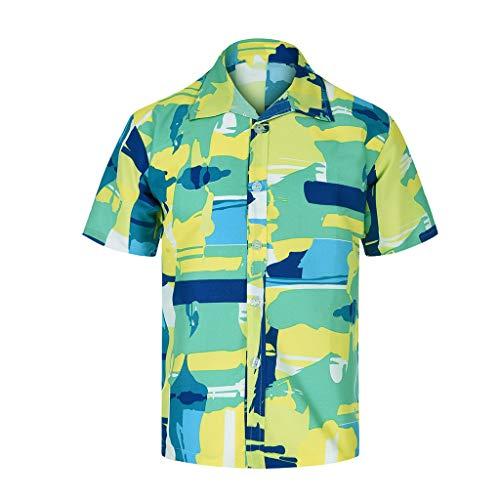Xmiral T-Shirt Hemd Herren Personalisierte Bedruckte Strandoberseite Kurzarmshirt Top Hemd mit kurzen Ärmeln Lässige T-Shirt(Grün-Gelb,XL)