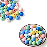 DAHI holzperlen 500stk bunt perlen 10mm holzkugeln Holz perlen mit Loch bastelnperlen für DIY Schmuck Herstellung (500stk)