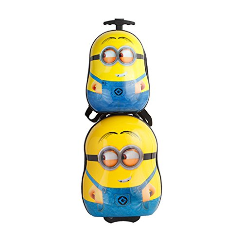 MOREFUN Minion 20'' Kids Carry on Luggage Set Hard Shell Hardside Suitcase Travel 13'' Backpack for Toddlers (Minion set-02)