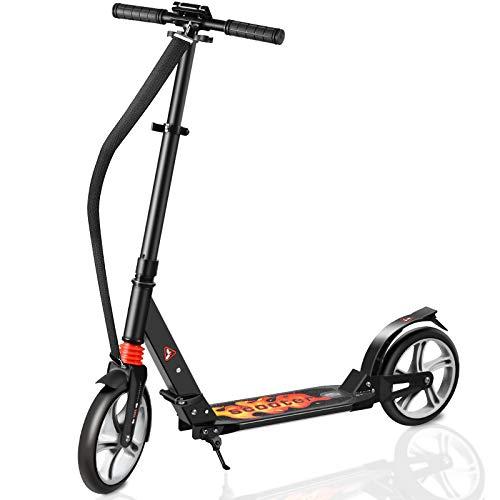 Fast 88 City Roller Scooter Klappbar & Höhenverstellbar Roller Kinder | Big Wheel Scooter Cityroller mit Doppelfederung und Tragegurt, Tretroller für Kinder rüber 8 Jahre bis 60kg