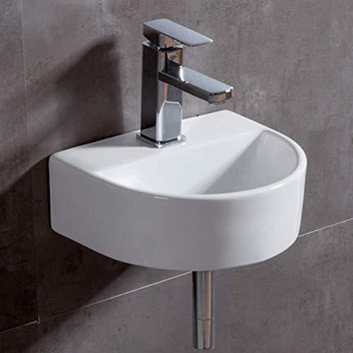 eConnect-EU Lavabo da Appoggio Lavabo Bagno Sospeso Lavandino Bagno Design Moderno senza Troppopieno Ceramica Bianco Moderno Sanitari Bagno (30*25*12 cm)