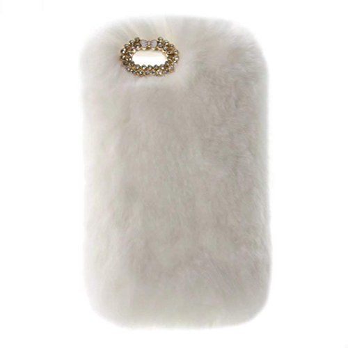 Huawei Ascend Plus H881c Case,Super Deluxe Luxury Faux Rabbit Fur Fuzzy Plush Beaver Rex Rabbit Hair Fur Case for Huawei Valiant Y301 (Bowknot White)