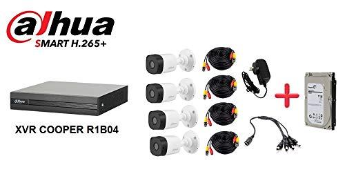 Dahua Cooper XVR1B04KITHDD- Kit 4 Canales 1080P Lite/ H265+/ 1 HDD DE 1TB para CCTV Instalado/ 4 CAMARAS…