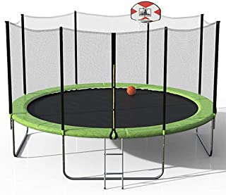 WeYoung Trampoline for Kids with Basketball Hoop, Secure Enclosure Net and Ladder