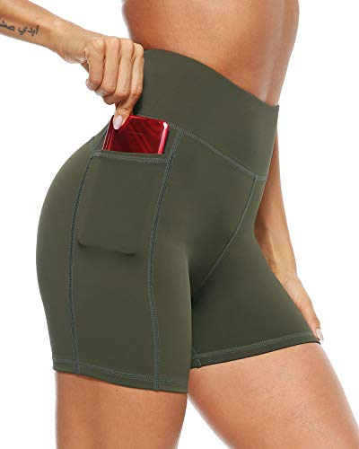 AFITNE Yoga Shorts for Women with Pockets High Waisted Workout Athletic Running Shorts Biker Spandex Gym Fitness Tights Leggings Army Green - M