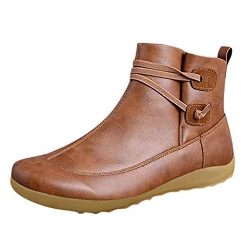 Botas de Nieve POLP Botines de Invierno con Cremallera Lateral Botas de Nieve de Invierno para Mujer Botines de Cuero de Primavera Zapatos Planos Botas Cortas de Mujer Casual